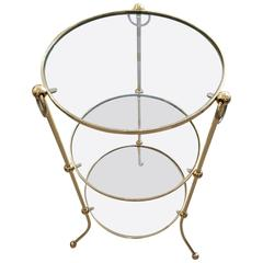 Italian Brass Campaign Style Three-Tier Side Table