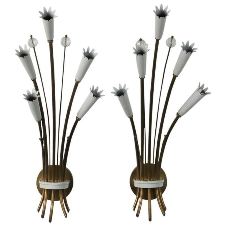 Pair of Italian Stilnovo Style Brass and Enamel Sconces