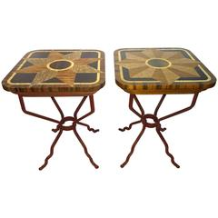Near-Pair of 20th Century Wood and Iron Side Tables by Ivan Bailey