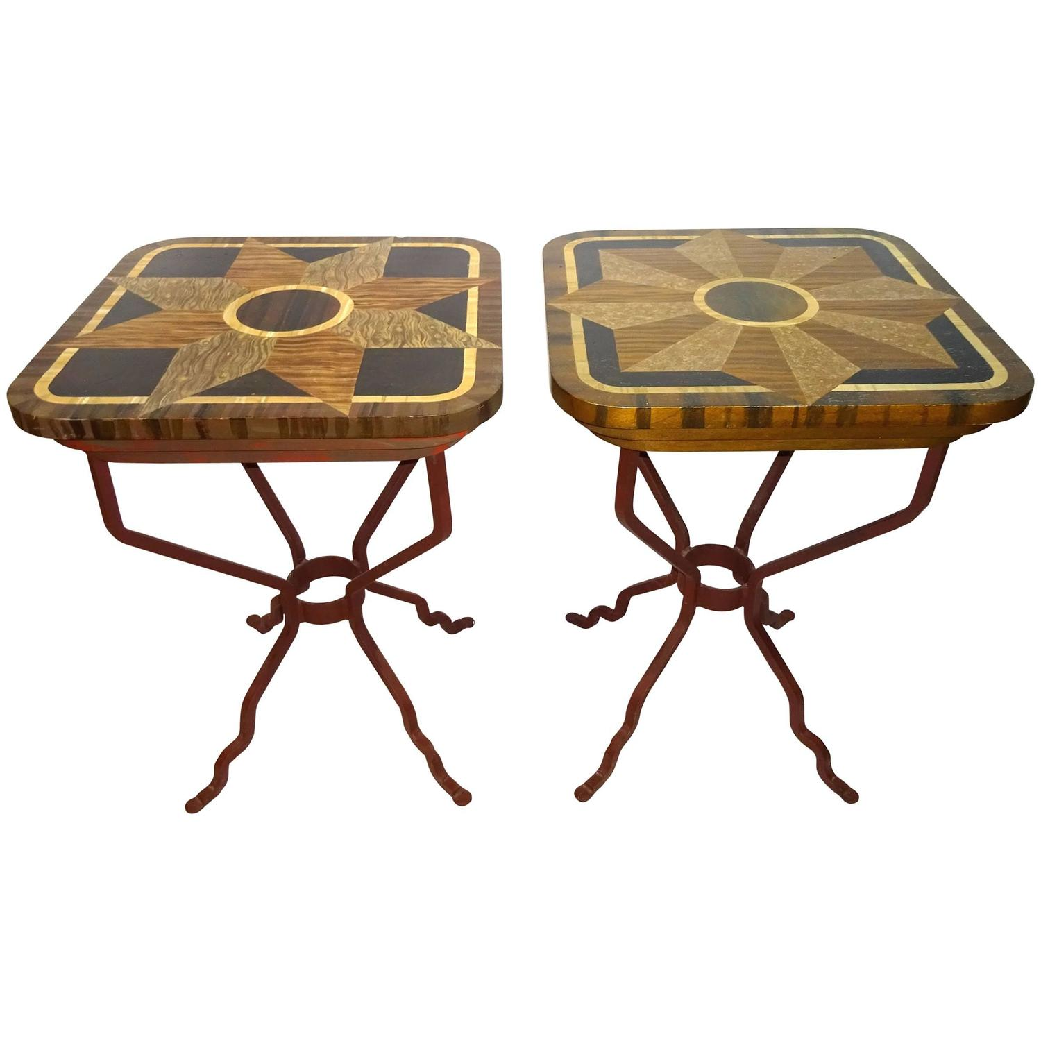 Near pair of 20th century wood and iron side tables by for Iron and wood side table