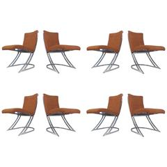 Set of Eight Chrome Cantilever Dining Chairs