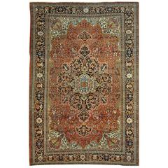Room Size Antique Hand-Knotted Persian Sarouk Farahan