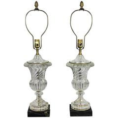 Pair of Paul Hanson Glass and Marble Table Lamps