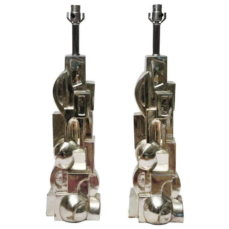 1970s Plated Plaster Deco-Inspired Cubist Table Lamps