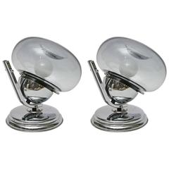 Pair of 1960s Italian Chrome and Glass Table Lights