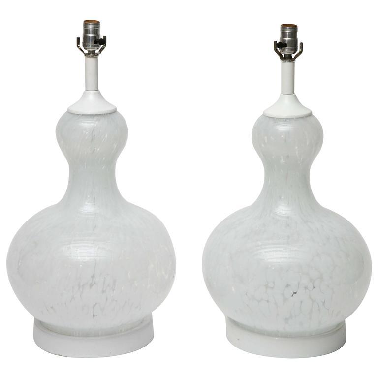 Pair of Late 1960s Handblown Murano Glass Lamps