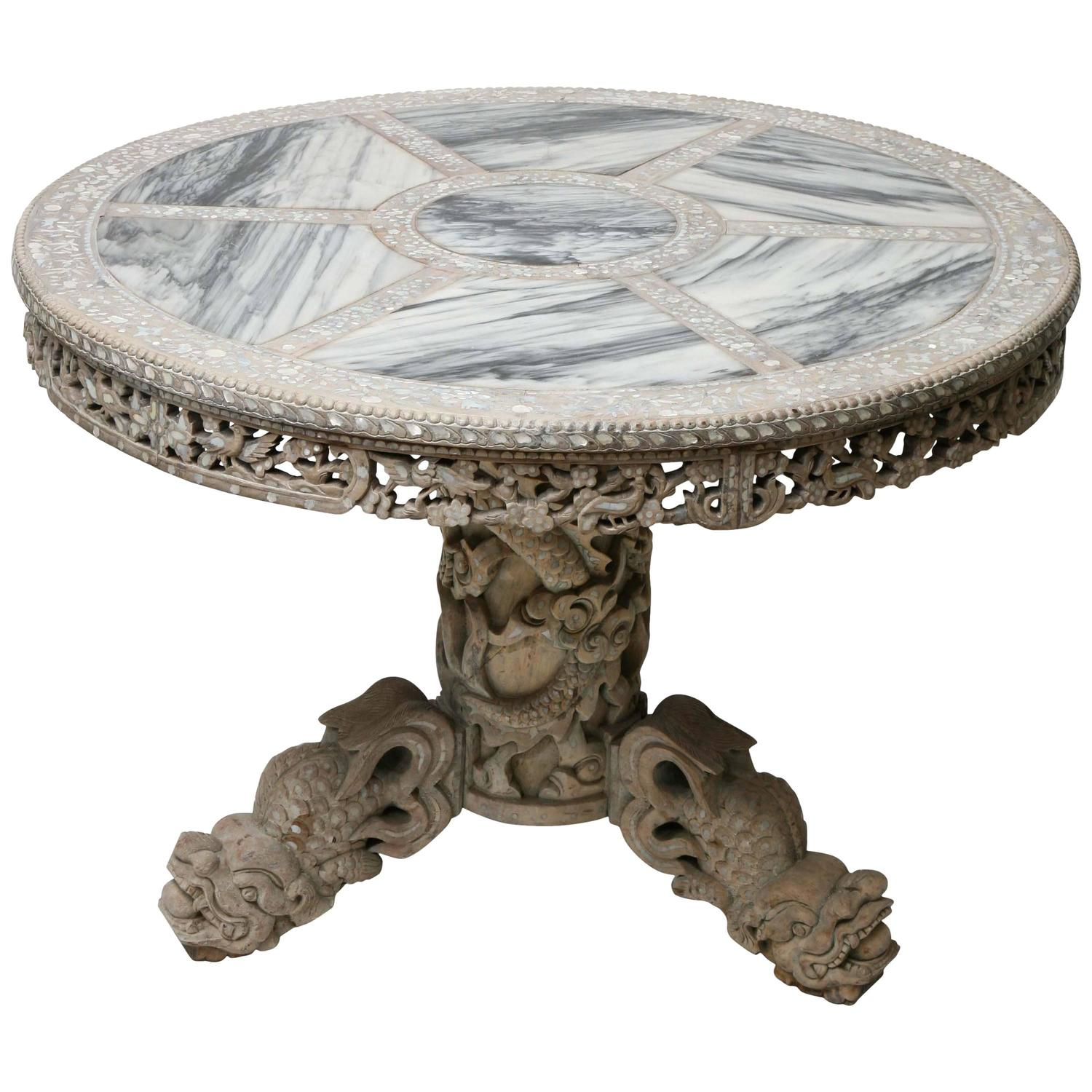 Finely Carved Chinese Center Table With Mother Of Pearl Inlays And Marble  Top At 1stdibs