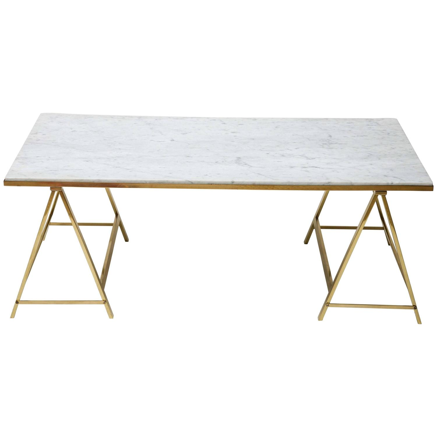 Italian Polished Brass And Marble Coffee Table At 1stdibs