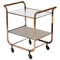 French Copper Bar Cart with Wrapped Rattan Handles