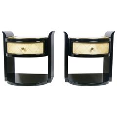 Pair of Modernist Art Deco Bedside Tables in Lacquer and Parchment