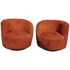 Pair of Vladimir Kagan Style Nautilus Chairs