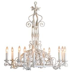 Antique French Forged Iron Painted Chandelier, Twelve Lights, circa 1910