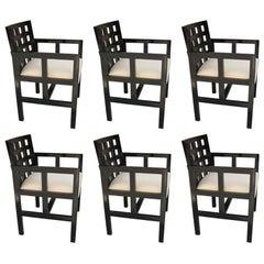 Curved Back Set of Six Ebonized Chairs