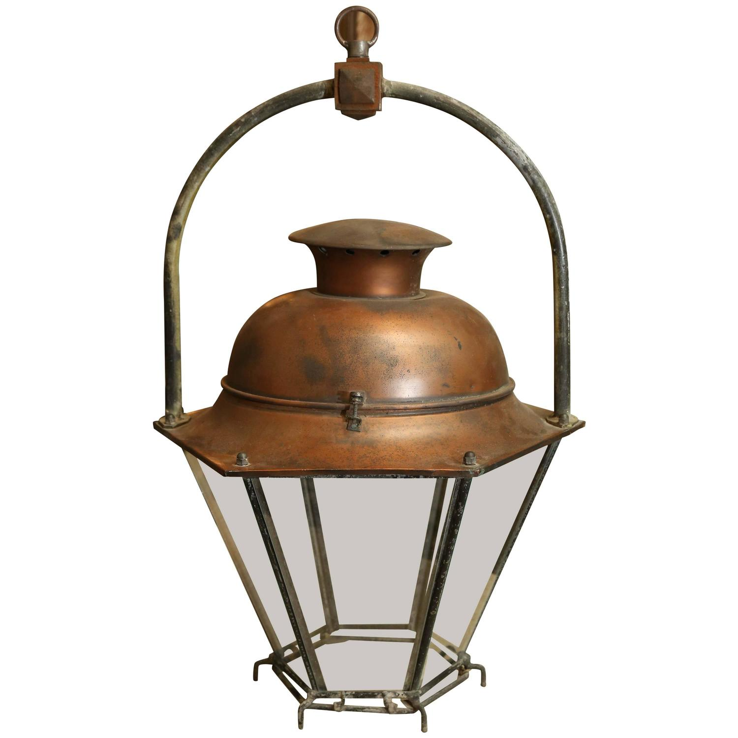 Large Copper French Lantern For Sale at 1stdibs