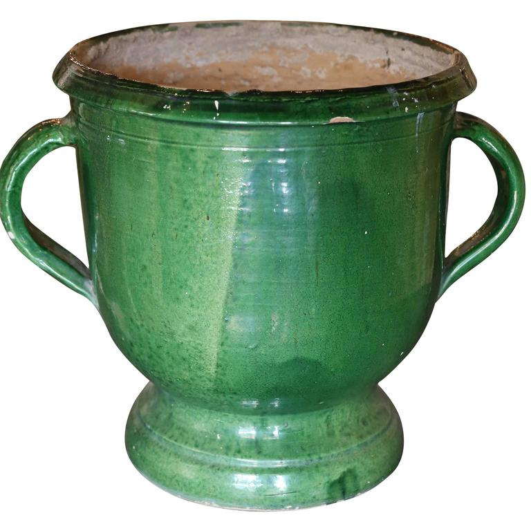 Green Glazed Terracotta Planter