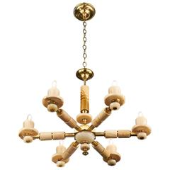 Vintage Six-Arm Onyx Chandelier