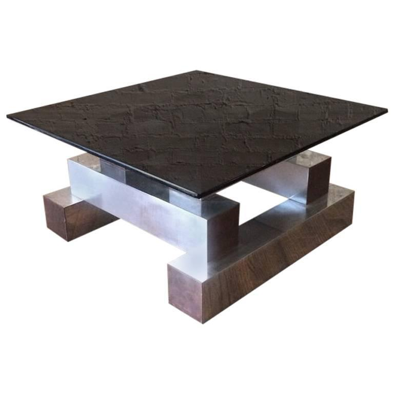 Aluminum Brass and Glass Architectural Coffee Table in the Style of Paul Evans For Sale