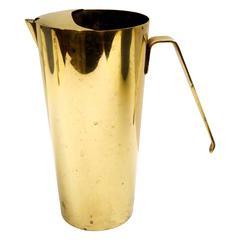 Mid-Century Modern Minimalist Design Solid Polished Brass Italian Water Picher