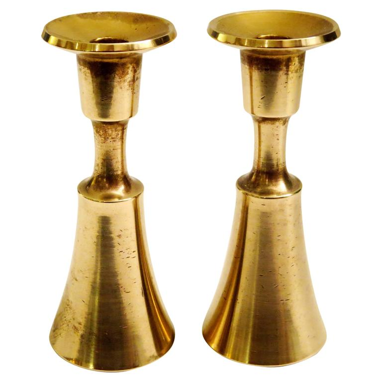 1950s Solid Polished Brass Dansk Candleholders 3 Pairs Available by Quistgaard