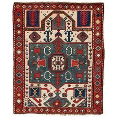 Fascinating Antique Caucasian Kazak Prayer Rug