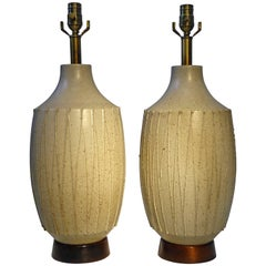 California Modern Superb Pair of David Cressey Pottery Table Lamps