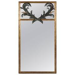 Gilt Trumeau Mirror with Leaf Motif