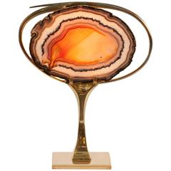 Brass and Agate Table Lamp Attributed to Willy Daro