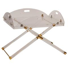 Mid-Century French Lucite and Brass Drink Table
