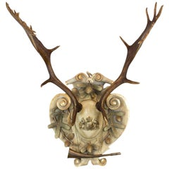19th Century Habsburg Fallow Trophy on Italian Polychrome Plaque with Hunt Horn