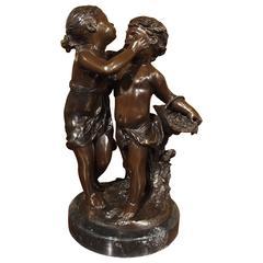 Cast Bronze Statue of a Boy and Girl, Signed A. Moreau