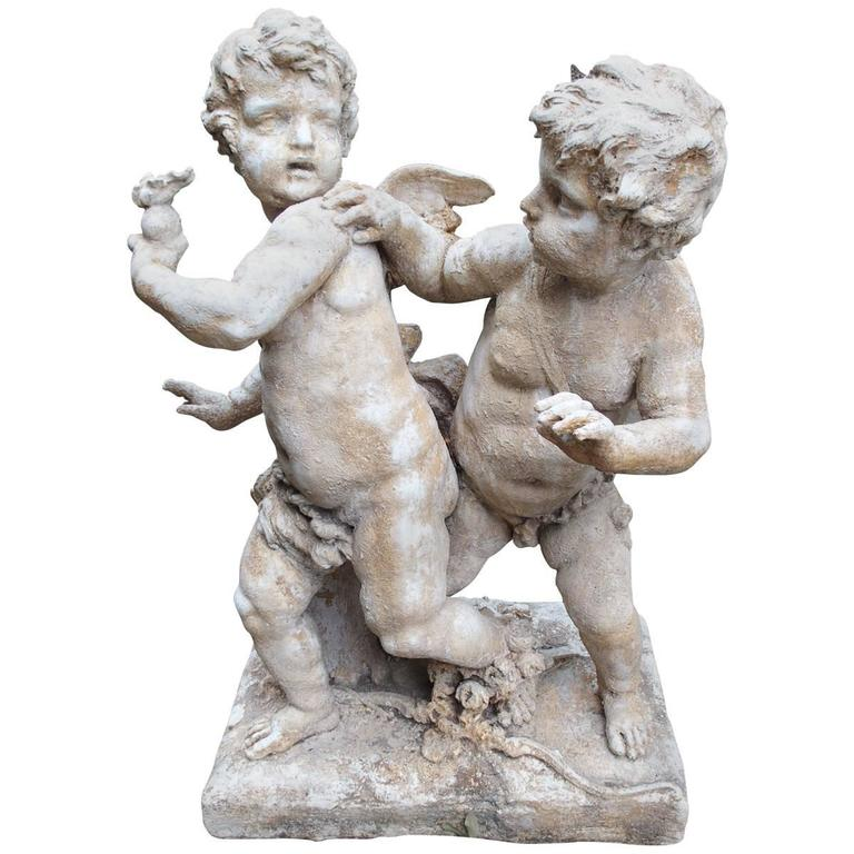 Cast Stone Cupids Garden Statue from France
