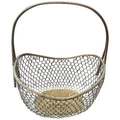 1940s Large French Hand-Woven Brass Basket