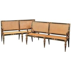 Handsome Pair of Italian Parcel-Gilt Settees