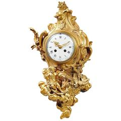 Louis XV Style Doré Bronze Cartel Clock with Putti on a Chariot by Vincenti