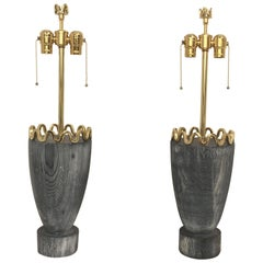 James Mont Cerused Redwood and Brass Lamps