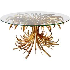 French Gold Gilt Sheaf of Wheat Cocktail Table