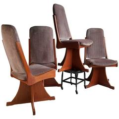 Architectural Crafts Swivel Chairs, Unusual Design, Teak Construction