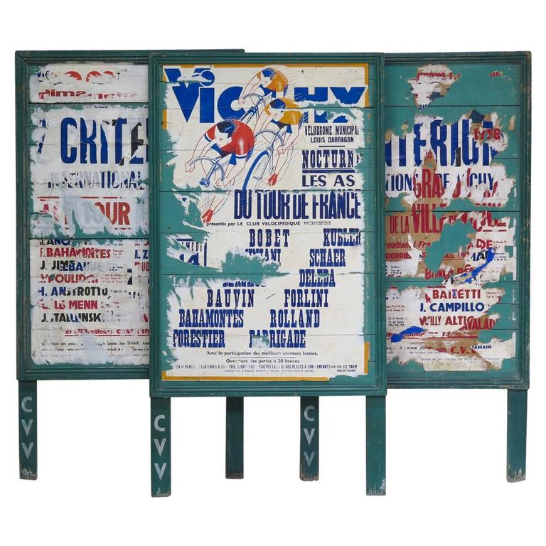 Set of Three Advertisement Panels for the Tour De France, circa 1950s-1960s