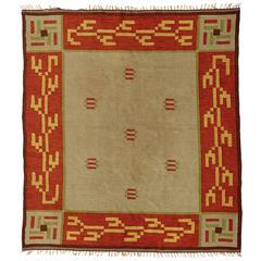 Art Deco Flat-Weave Carpet, Sweden, 1920s