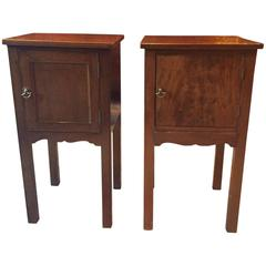 Antique Victorian Mahogany Bedside Cabinets or Tables Pair, 19th Century