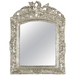 French Louis XV Period, Hand-Carved Silvered Wood Mirror