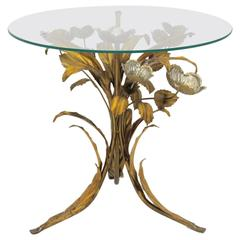 Hollywood Regency Style Gilded Flower Coffee Table, 1950