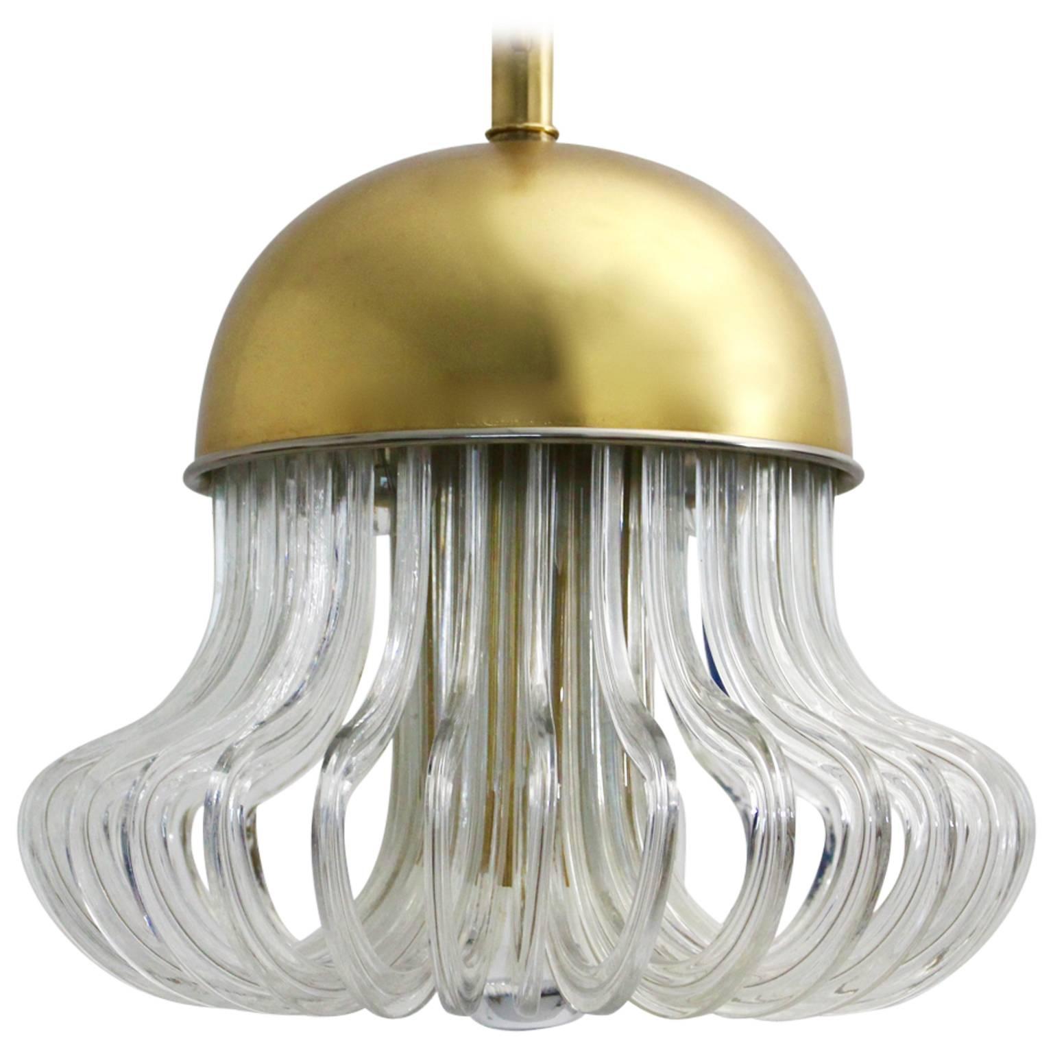 Mid Century Modern Glass Brass Vintage Chandelier Bakalowits Cari Zalloni 1960