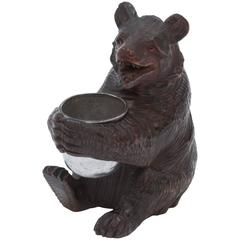 Black Forest Carved Wooden Bear Holding a Silver Plated Cup