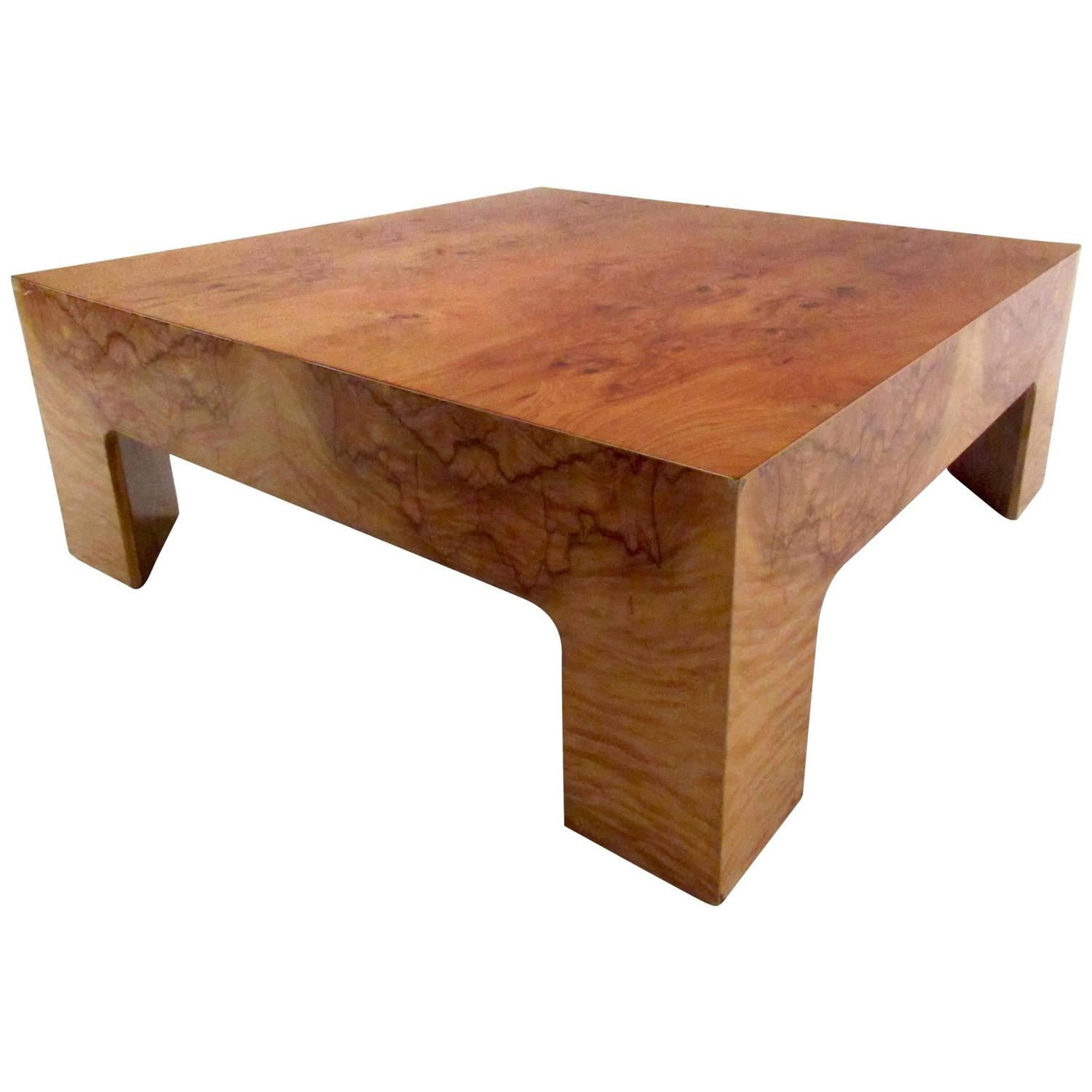 Mid Century Milo Baughman Style Burl Wood Coffee Table At 1stdibs