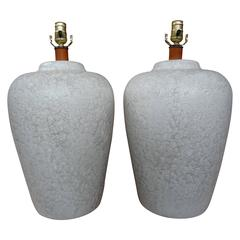 Large Pair of Mid-Century Raised Crackle Glaze Ceramic Lamps