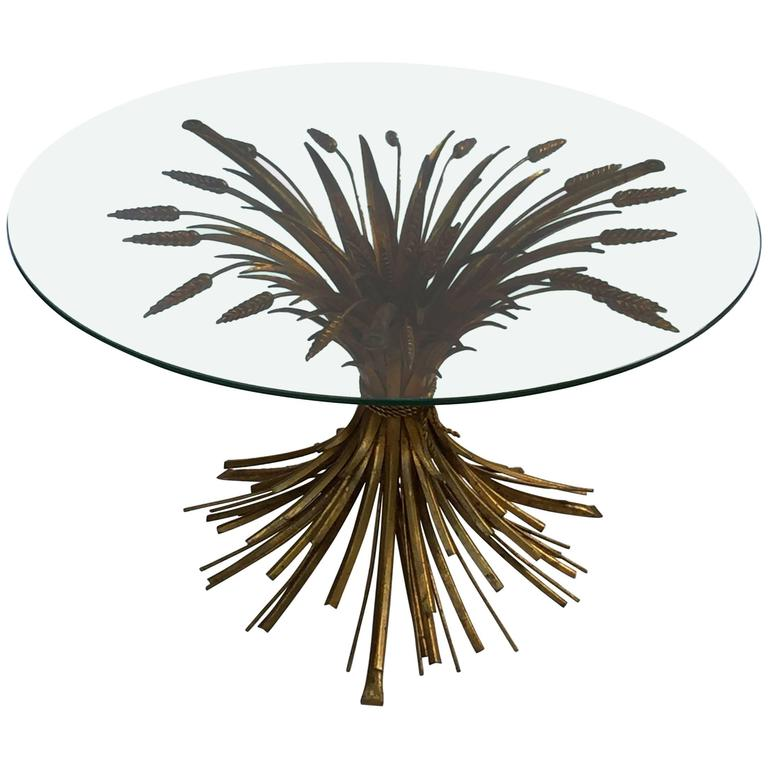 Italian Wheat Sheaf Low Table of Gilt Metal 1