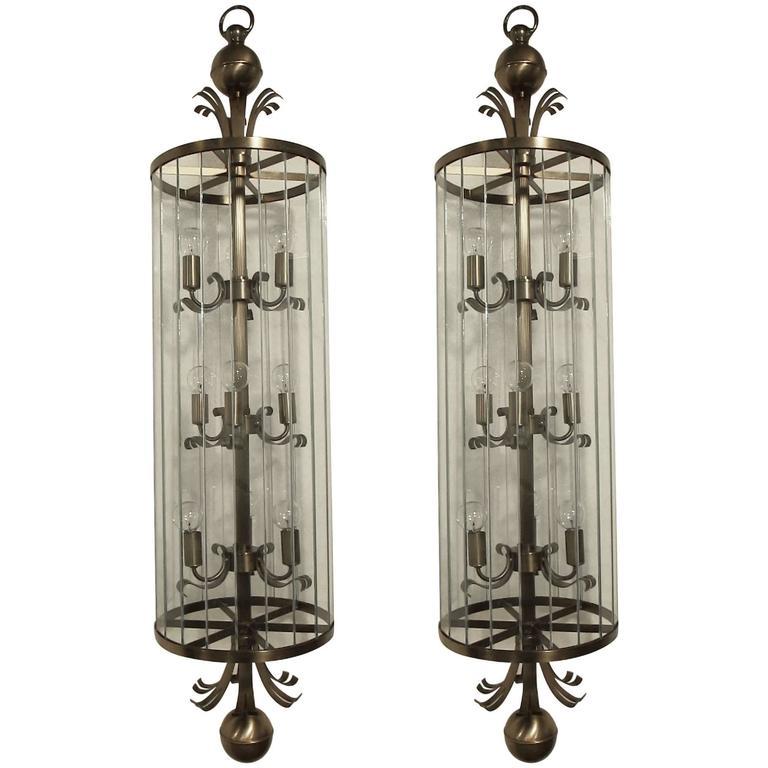 Pair of Monumental Art Deco Lantern Chandeliers