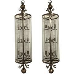 Pair of Monumental Art Deco Lantern Chandeliers