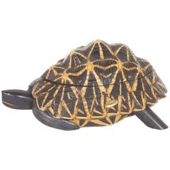 Antique Indian Star Tortoise Box Inlaid with Mahogany and Ebony